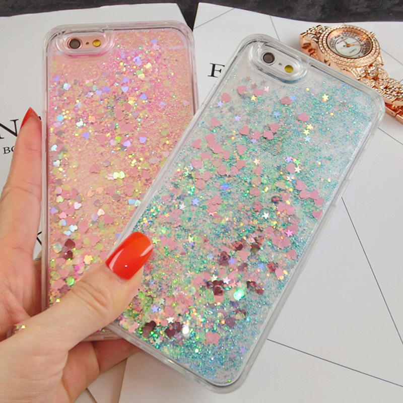2017 Love Heart Stars Dynamic Liquid Quicksand Soft TPU Phone case for iPhone 7 case Back Cover ...