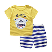 Baby Girl Clothes Lovely Baby Boy Girl Summer Infant Clothing Clothes Striped Shorts + Yellow Top Tees Clothes Baby Outfits cheap Unini-yun COTTON Fashion O-Neck Sets Pullover REGULAR Fits true to size take your normal size Worsted Coat cartoon Baby Boys