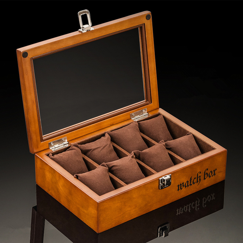 8 Slots Wooden Watch Boxes Coffee Watch Storage Case With Glass Watch Display Jewelry Gift Cases