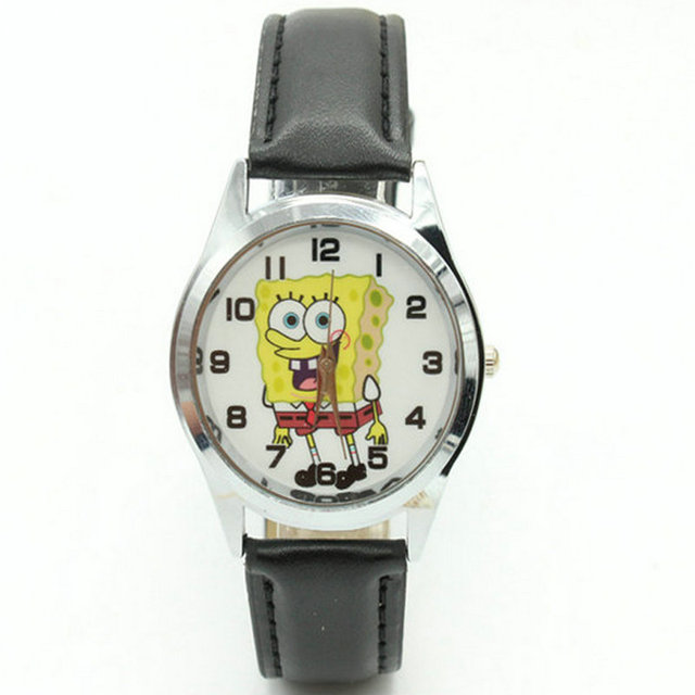 Free Shipping Fashion Cute Spongebob Kids Watch Wristwatches color Beautiful Chi