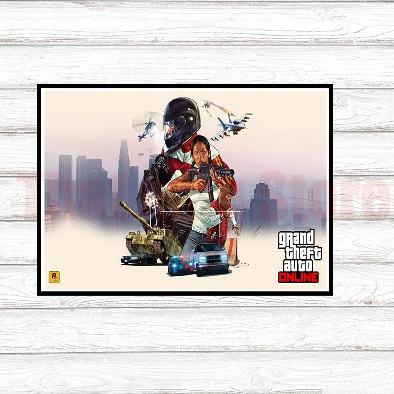 GTA 5 Grand Theft Auto San Andreas Gaming coated paper poster Mural de Pared Pegatinas Decoracion Del Hogar