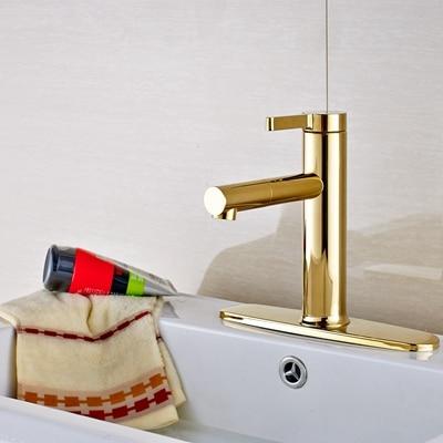 Modern Solid Brass Deck Mounted Golden Bathroom Sink Basin Faucet  Mixer Tap W/ 8 Plate Faucet modern style golden color bathroom sink faucet single handle mixer tap solid brass deck mounted