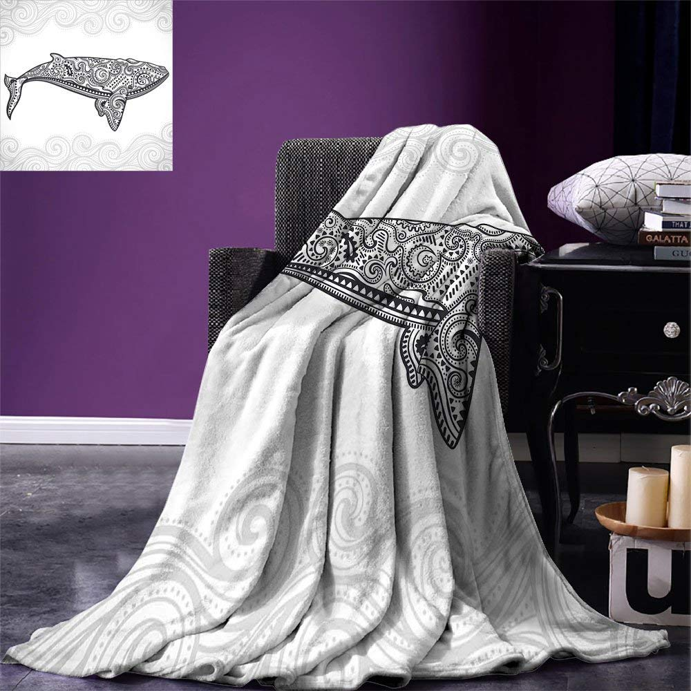 Blanket Ethnic Ornamental Asian Style Big Fish with Oriental Effects Underwater Warm Microfiber Blanket Pale Grey Charcoal Grey