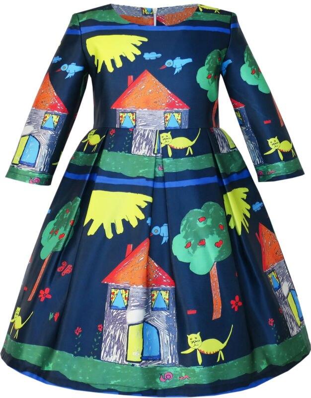 Sunny Fashion Girls Dress House Tree Cartoon Long Sleeve Winter Dress 2016 Summer Princess Wedding Party Dresses Size 4-14 mary pope osborne magic tree house 43 leprechaun in late winter