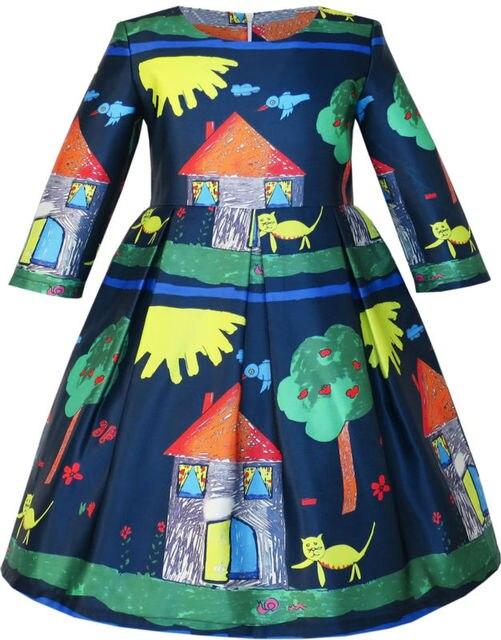 Sunny Fashion Girls Dress House Tree Cartoon Long Sleeve Winter Dress 2016 Summer Princess Wedding Party Dresses Size 4-14