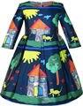 Sunny Fashion Girls Vestido de Casa de Árbol de Dibujos Animados de Manga Larga de Invierno Vestido 2016 de Boda de La Princesa Del Verano Vestidos de Fiesta Tamaño 4-14