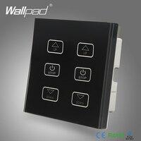 Double Fan Switch 110V 250V Wallpad Luxury Black Glass 6 Buttons Touch Control 2 Fan Speed