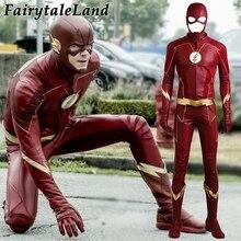 Il Flash Stagione 4 Barry Allen Flash Cosplay Costume di Carnevale Costumi di Halloween per Gli Uomini adulti Flash costume rosso uniforme