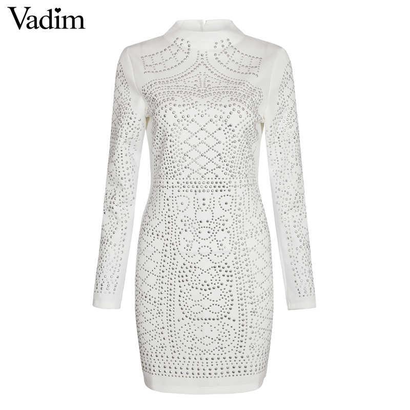 Mode Sexy motif géométrique strass col roulé à manches longues moulante robe moulante robe de soirée ZC004
