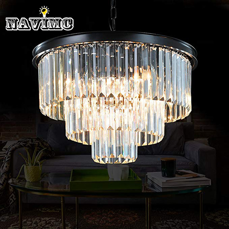 6 Lights Modern Contemporary Crystal Chandeliers Lights Pendant Ceiling Chandelier Lighting Fixture 3 Tier for Dining Room Livin