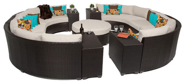 2017 Garden Feeling 11 Piece Outdoor Wicker Patio Furniture Round Sofa Set