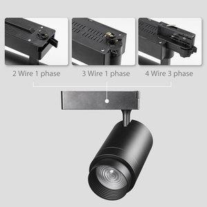 Image 2 - מסלול מנורת Zoomable 12W/20W/30W מתכווננת קרן זווית COB LED רכבת בגדי נעלי חנות תערוכת גלריה זרקורים ספוט אור