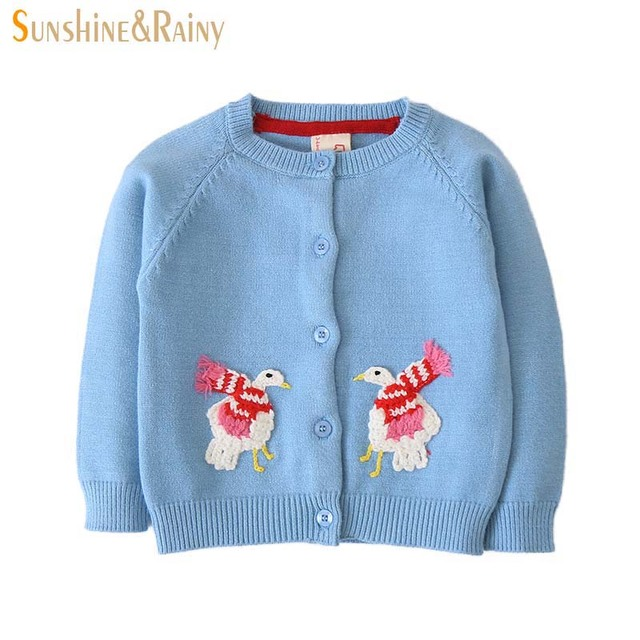 107a675f2 Sunshine   Rainy Baby Girls Cardigan Kids Sweater Cartoon Animal ...