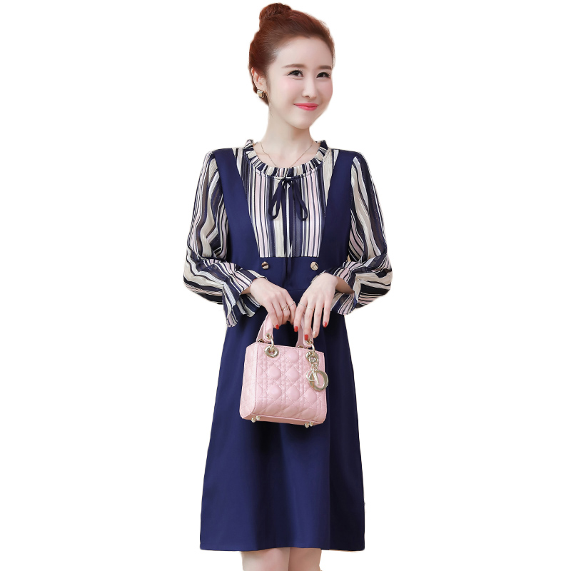 Spring Autumn Striped Women Dresses Fashion Fake two pieces Elegant Long Sleeve A Line Plus size 5XL Dress Ladies Tie Neck Dress