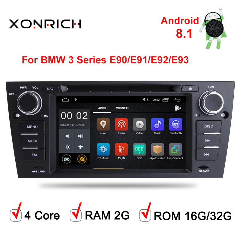 AutoRadio 1 Din Android 8.1 2G Ram Car DVD Player For 3 Series BMW E90/E91/E92/E93 GPS Navigation Head Unit Audio Stereo Wifi