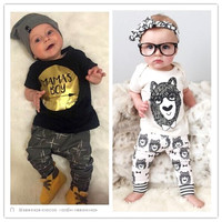 2016 Summer Baby Boy Clothes Baby Girl Clothes Kids Short Sleeved T Shirts Pants 2 Pcs