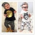 Baby boy 2016 verano ropa del bebé embroma la ropa corta manga larga t shirts + pants 2 unids ropa conjuntos kikikids bobo choses