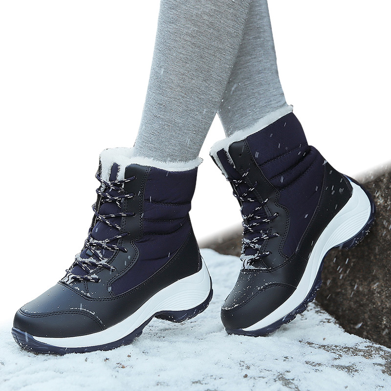 2018 Winter Boots Women Shoes Warm Snow Boots Winter Plush Round Toe Shoes Women Waterproof Ankle Platform Botas Mujer Booties new women s winter snow boots round head anterior lace up platform botas plush ankle boots women cotton shoes botines mujer 2018