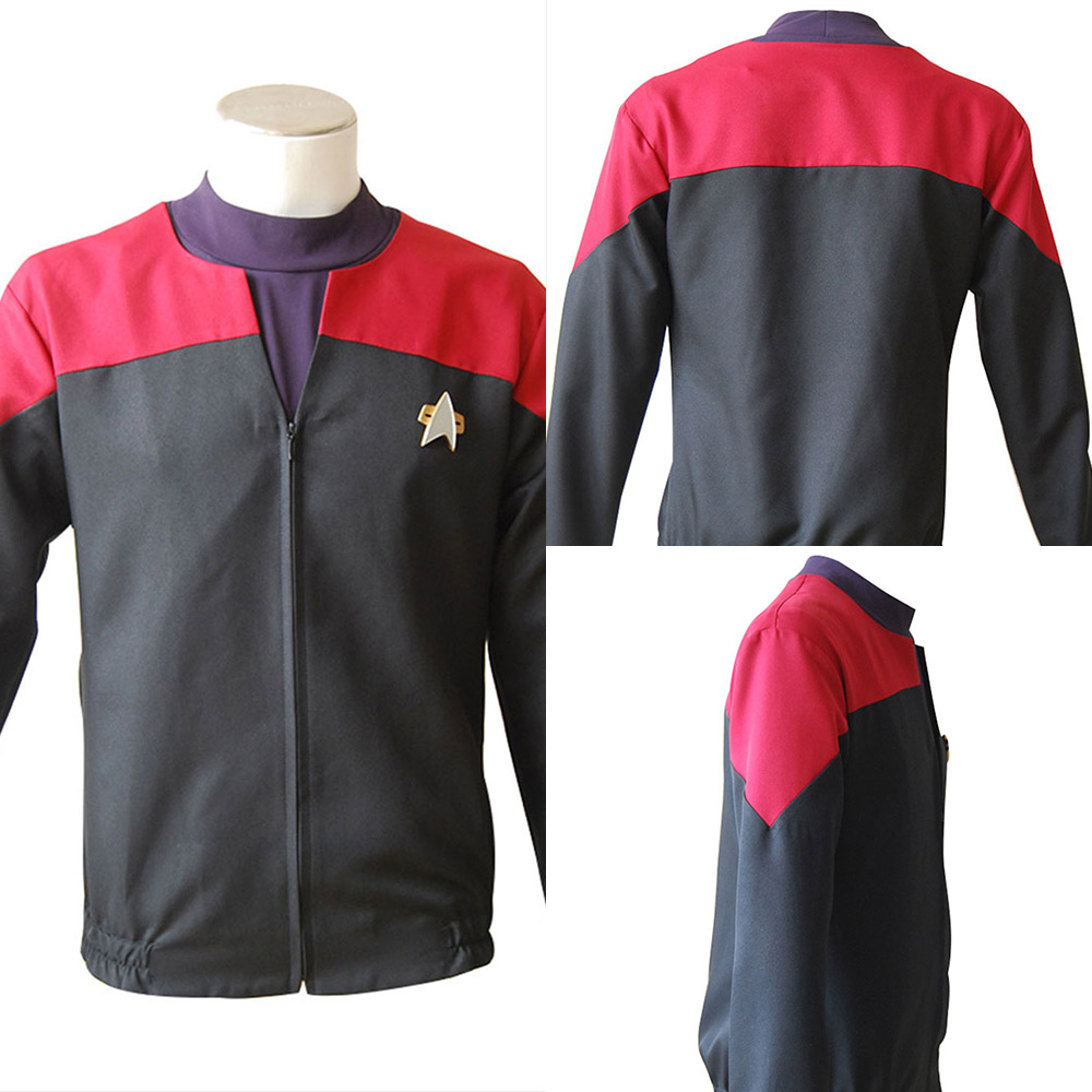 Star Trek Voyager Costume Command Cosplay Star Trek Red Uniform For Adult Halloween Carnival Classic Cloth