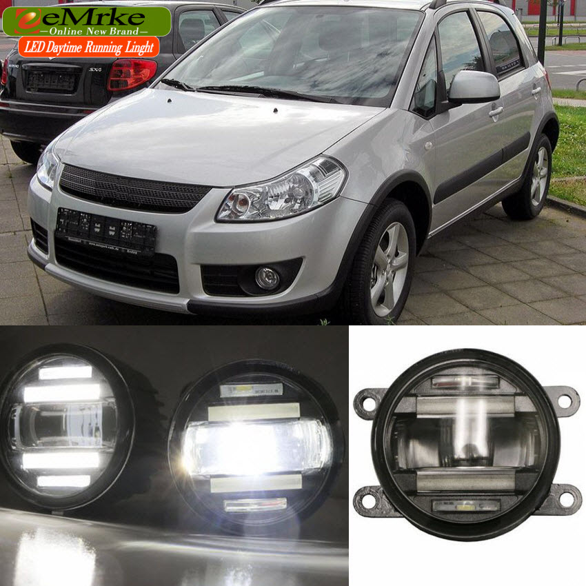 eeMrke Xenon White High Power 2in1 LED DRL Projector Fog Lamp With Lens For Suzuki SX4 2008-2016 eemrke xenon white high power 2in1 led drl projector fog lamp with lens for suzuki sx4 2008 2016