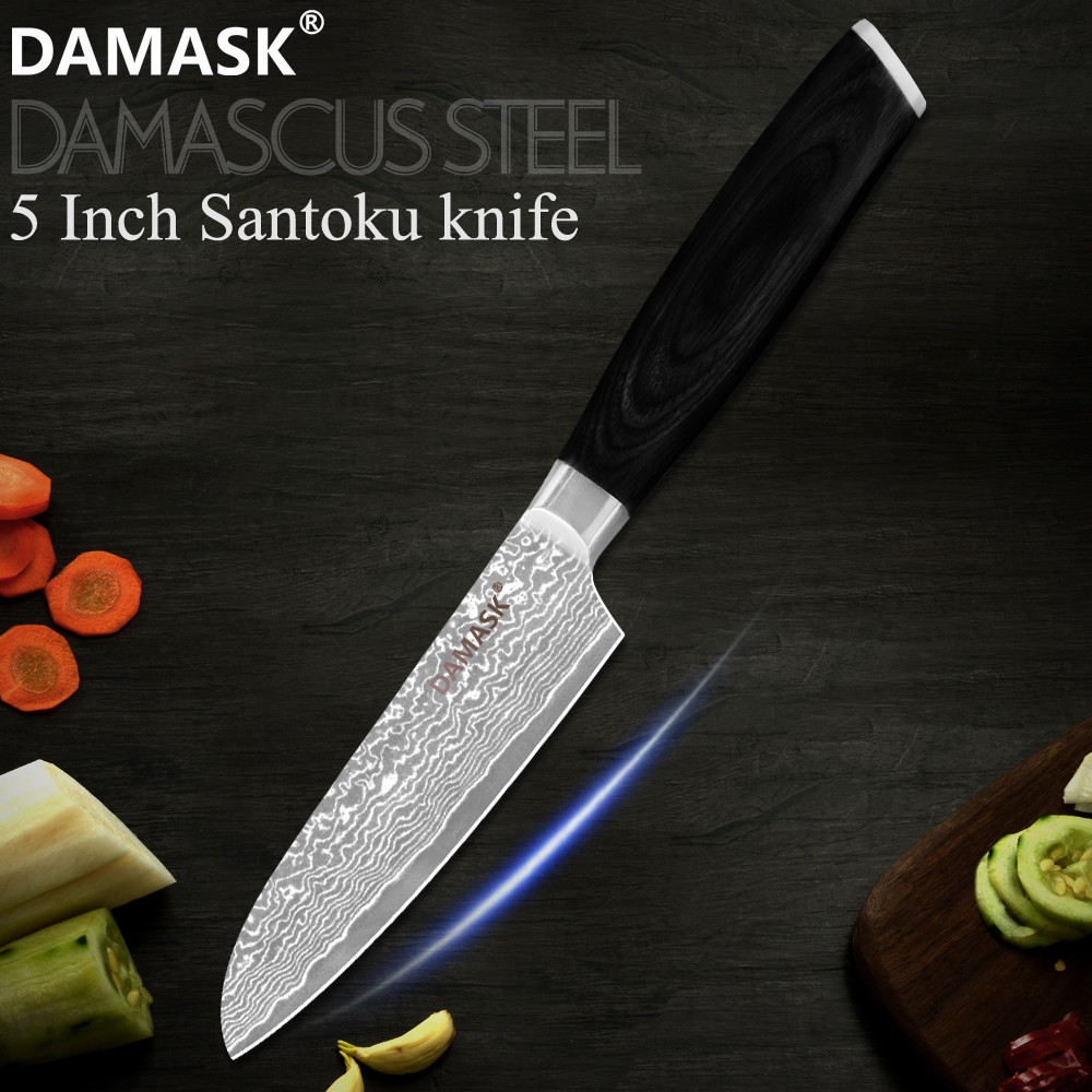 DAMASK 5 inch Damascus Steel Santoku Knife Japanese Damascus Steel Kitchen Chef Knife 67 Layer VG10 Core Cooking Cutlery Sale