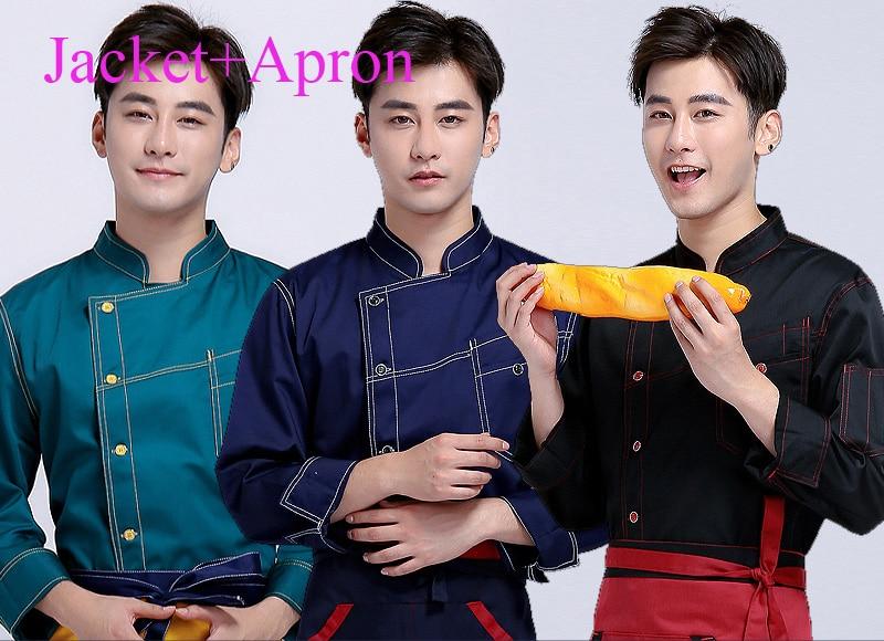 Coat Apron Men Chinese Restaurant Denim Chef Uniform font b Women b font Fast Food Service