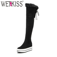 WETKISS New Arrive Thick Plush Inside Winter Boots For Women Cow Suede Over The Knee Boots