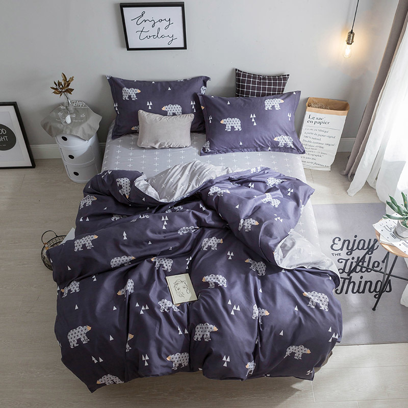 New Arrival Blue 3/4pcs Cartoon Bear Bedding Sets Geometric Duvet Cover Striped Bed Sheet Pillowcase Christmas Birthday Gift