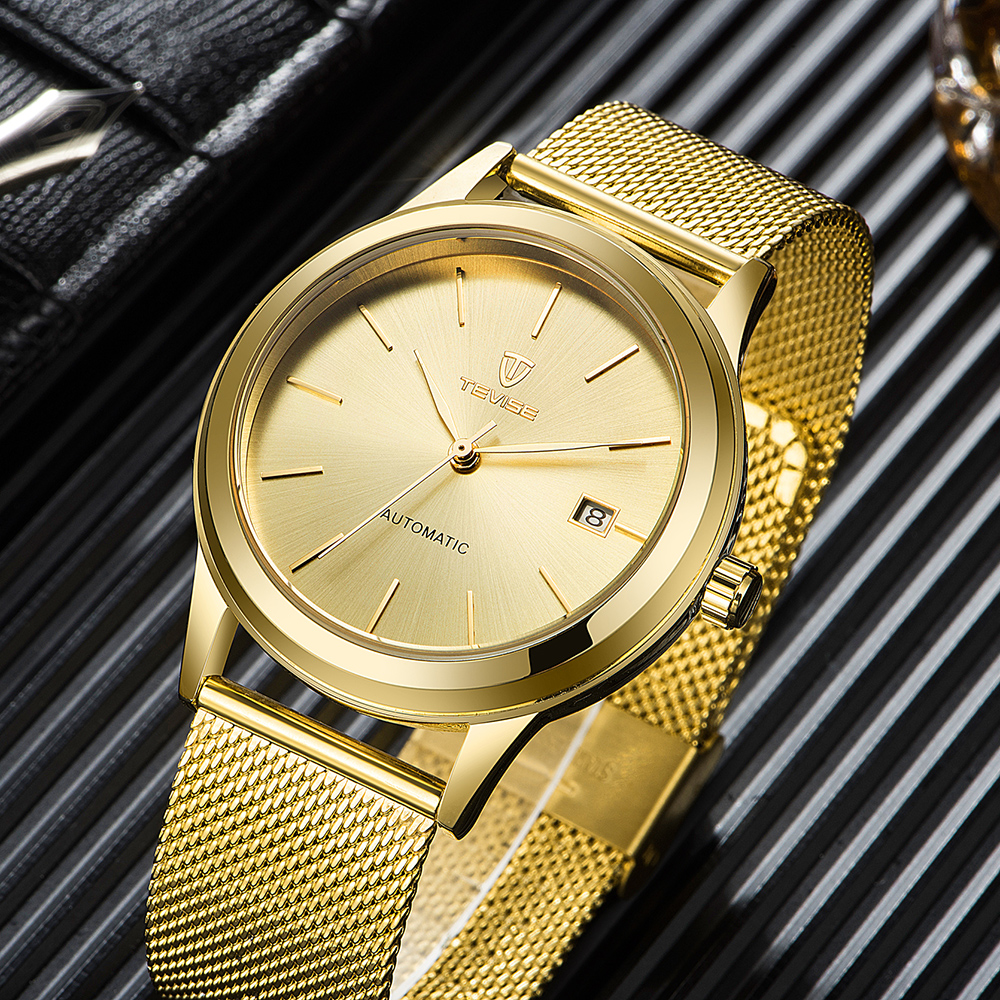 TEVISE Luxury Watches Top Brand Mens Mechanical Automatic Self Wind Watch Man Mesh Stainless Steel Auto Date Wristwatches 9017 tevise fashion mechanical watches stainless steel band wristwatches men luxury brand watch waterproof gold silver man clock gift