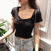 Summer 2019  Sweet Bow Bandage Fashion T-Shirt Women Casual Short Sleeve Sexy Slim Tops Female Solid Color T Shirt Knitted