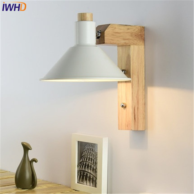 IWHD Simple Creative Adjustment Modern Wall Sconce Wood Iron LED Wall Light Fixtures Bedside Wall Lamp Home Indoor Lighting simple modern led wall lamp reading switch adjust wall light fixtures home fabric shade bedside wall sconce indoor lighting
