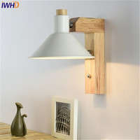 IWHD Simple Creative Adjustment Modern Wall Sconce Wood Iron LED Wall Light Fixtures Bedside Wall Lamp