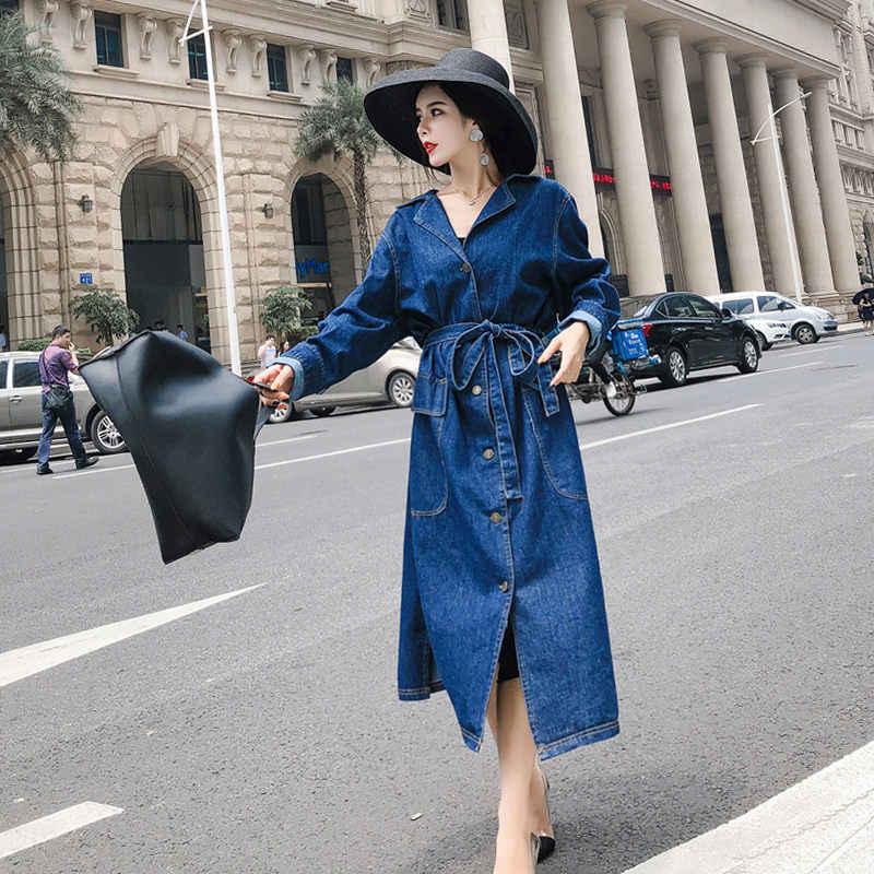Moda Kot Uzun Ceket Yeni Rahat Kore Yaka Gevşek Bel Kot Rüzgarlık Kadın Ceket Bandaj Dış Giyim Bayan f1280