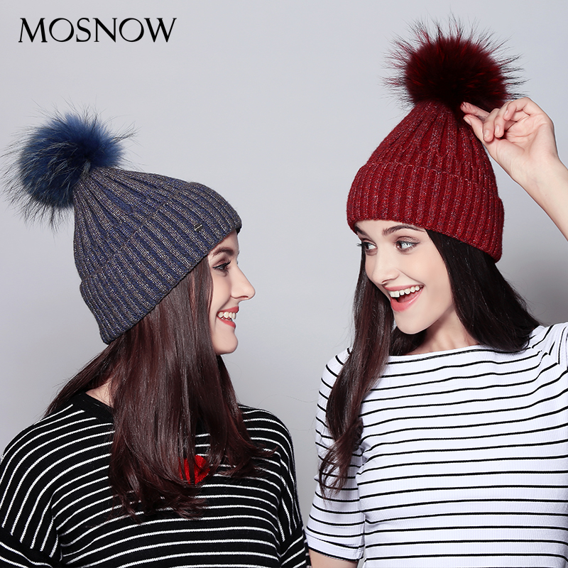 c2a68b4cbf0 MOSNOW Winter Hats Women Vogue Real Raccoon Fur Pom Poms Bonnet New 2018  Fashion Knitted Wool Hat Female Skullies Beanies  MZ702