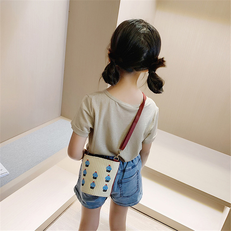 Children 39 s straw bag 2019 new arrival mini bucket bag fashion purse accessories in Crossbody Bags from Luggage amp Bags