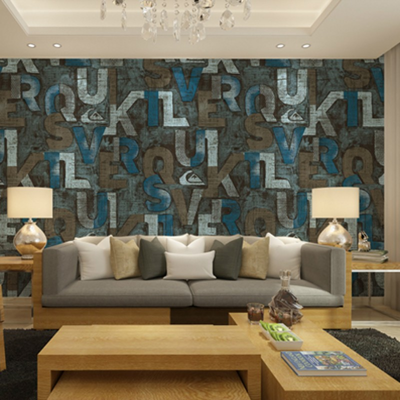 ФОТО beibehang American nostalgia personalized letter wallpaper simple and stylish living room wallpaper cafe bars KTV personality