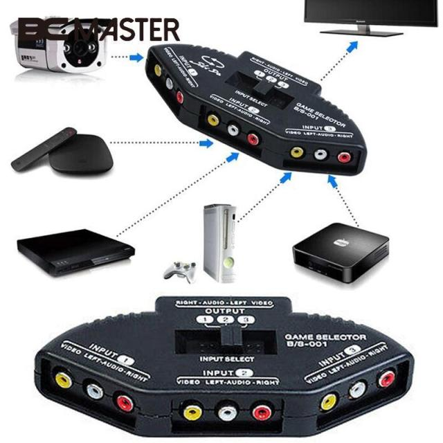BCMaster 3 Way Audio AV Switch Box Composite Selector Converter ...