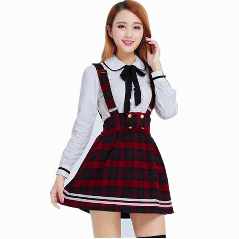 korean school uniform girls jk cosplay suit for women japanese school uniform cotton White shirt + plaid straps skirt knitting