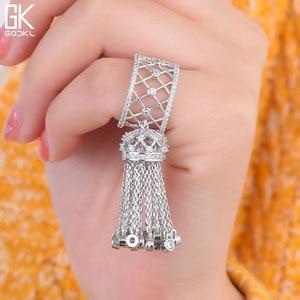 Image 2 - GODKI anneaux de luxe pour femmes, bijoux de mariage, avec glands, pour femmes, déclaration de fiançailles, pivoine cubique, dubaï