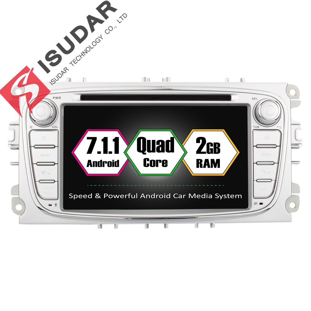 Isudar Car Multimedia Player GPS Android 7.1.1 2 Din Car Radio Audio Auto For FORD/Focus/S-MAX/Mondeo/C-MAX/Galaxy Wifi USB fm isudar car multimedia player gps 2 din car radio audio auto for ford mondeo focus transit c max bluetooth auto rear view camera