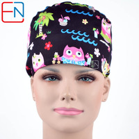 Hennar Brand Surgical Scrub Caps In Black With Night Olws Pattern