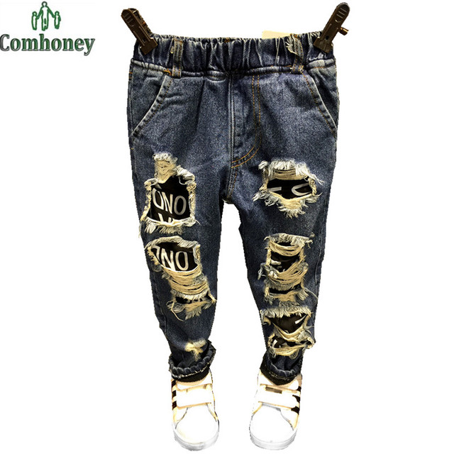 82cbbc28a 2-6Y Children Ripped Jeans Boy Jeans Autumn Winter Baby Pants Kids Denim  Pants Trousers For Boys Cool Children Clothing