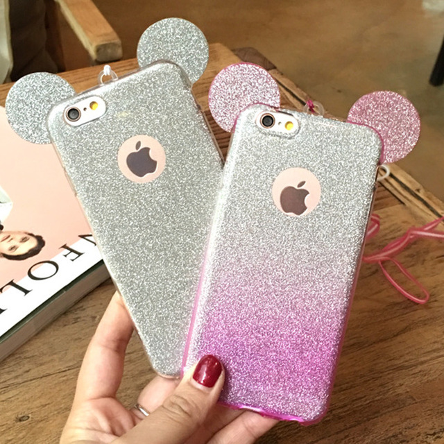 3D Mickey Mouse Ears <font><b>Phone</b></font> <font><b>Cases</b></font> for Samsung S5 S6 S7 S8 Edge Plus <font><b>J3</b></font> J5 J7 A3 A5 A7 2016 Cute Glitter Gradient Soft TPU Cover