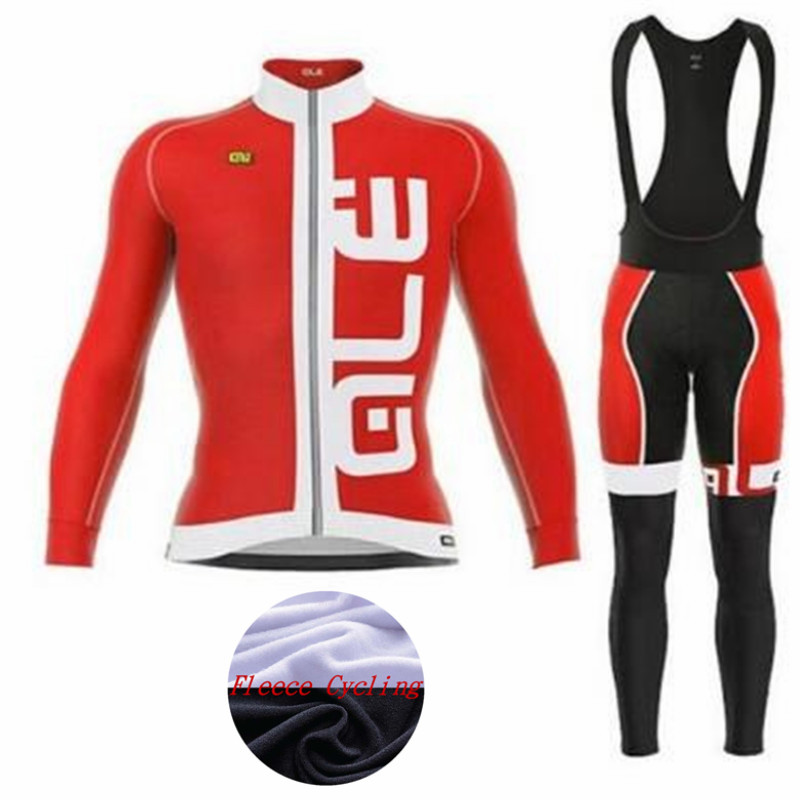 ALE cycling set 2018 Winter thermal fleece long Sleeve cycling jersey bib long pants MTB bicycle wear set ropa maillot ciclismo