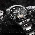 CARRIVAL Топ бренд класса люкс Tourbillon часы мужские из нержавеющей стали автоматические водонепроницаемые деловые механические часы relogio masculino