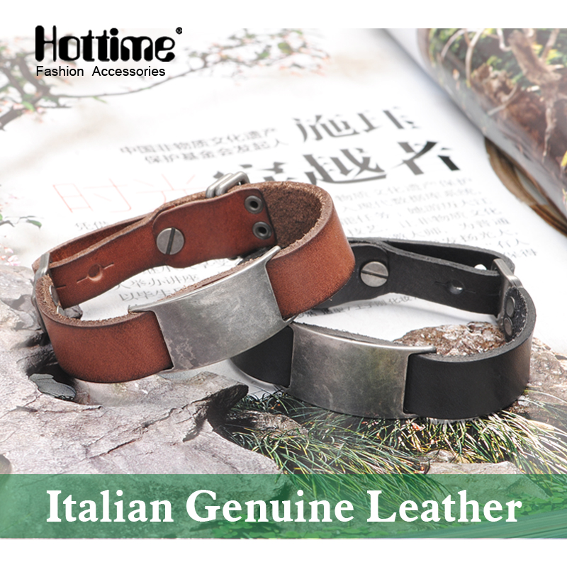 Free shipping Fashion Italian Genuine Leather Bracelet Multicolor Charm Bracelets Men Wristband Adjusted Size Mens Bangle PG007