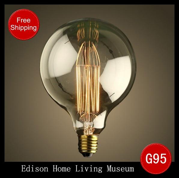 1900 Antique Vintage Edison Light Bulb 40w 220v 110v Radiolight G95ii Large Squirrel Cage Tungsten