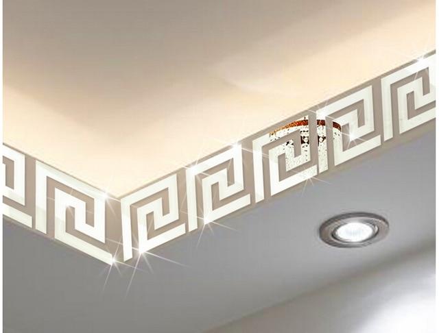 10pcs Lot 10x10cm Geometric Mirror Like Reflective Wall Border Sticker For Bedroom Living Room