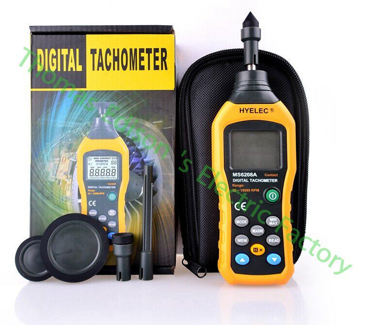 High quality MS6208A Contact-type Digital Tachometer Meter High Performance 50-19999RPM max dt 2856 photo touch type tachometer dt2856