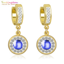 Yunkingdom Dark Blue Crystals Stainless Steel Round Earrings for Women  Fashion Jewelry Wholesale UE103 e00c17880d3d